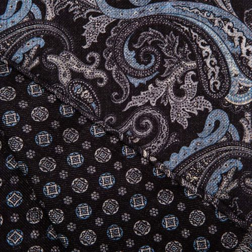 Handmade Black and Blue Paisley and Small Medallion Motif Hand Rolled Silk Wool Scarf