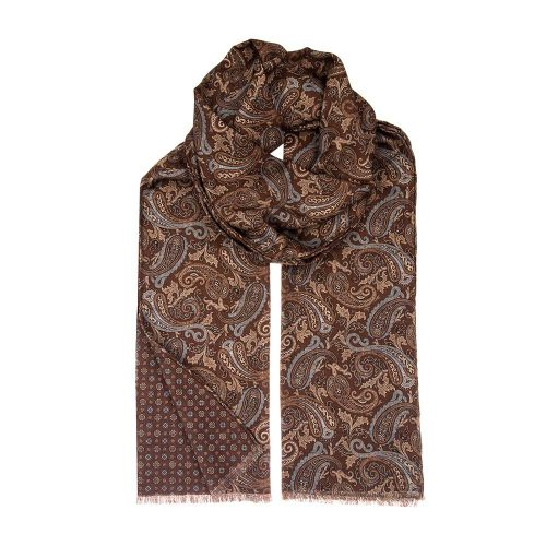 Handmade Italian Brown and Blue Paisley and Small Medallion Motif Hand Rolled Silk Wool Scarf