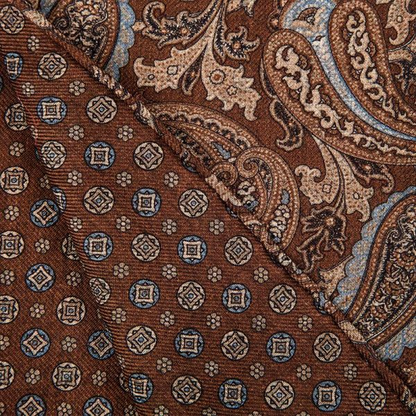 Handmade Brown and Blue Paisley and Small Medallion Motif Hand Rolled Silk Wool Scarf