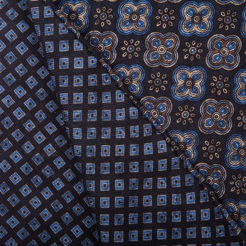 Handmade Blue Floral Medallion and Geometric Motif Hand Rolled Silk Wool Scarf