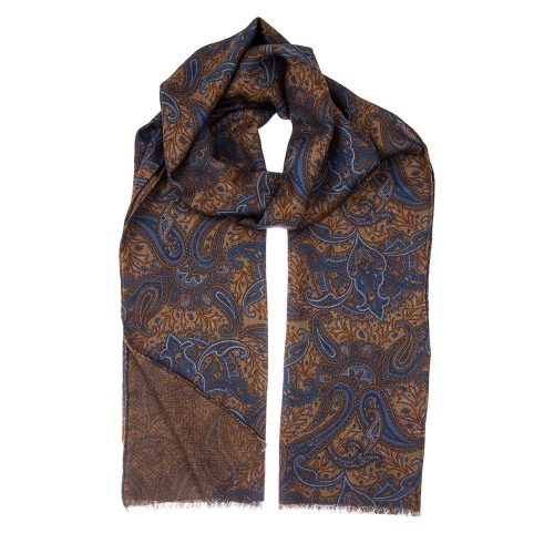 Handmade-Italian Brown and Blue Paisley and Herringbone Motif Hand Rolled Silk Wool Scarf