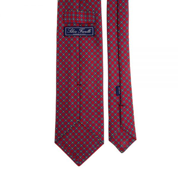 Italian Red Mini Geometric Motif Twill Silk Tie