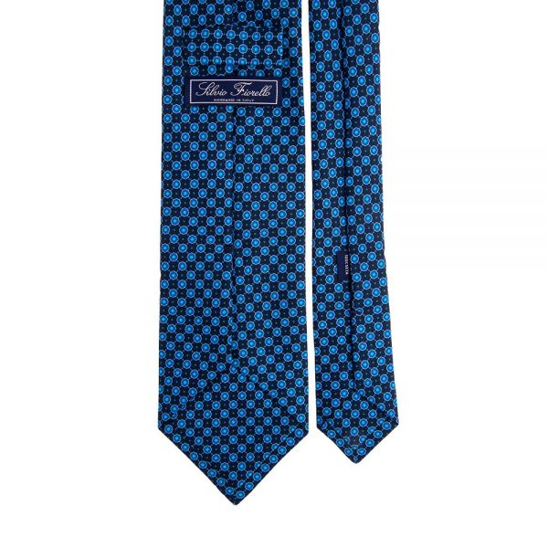 Italian Blue and Red Mini Geometric Motif Twill Silk Tie