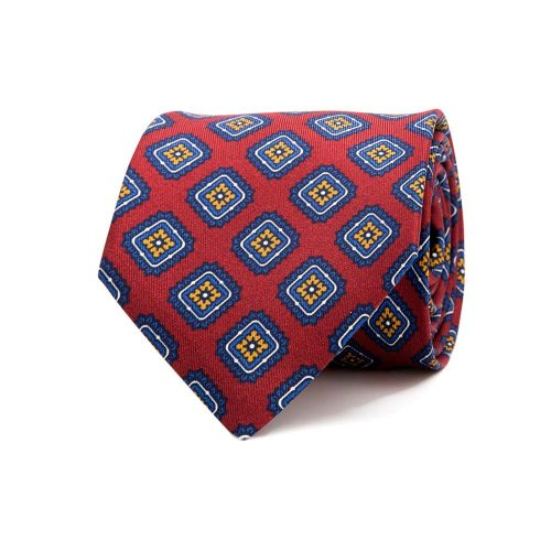 Handmade-Italian Red and Blue Tile Medallion Motif Printed Twill Silk Tie