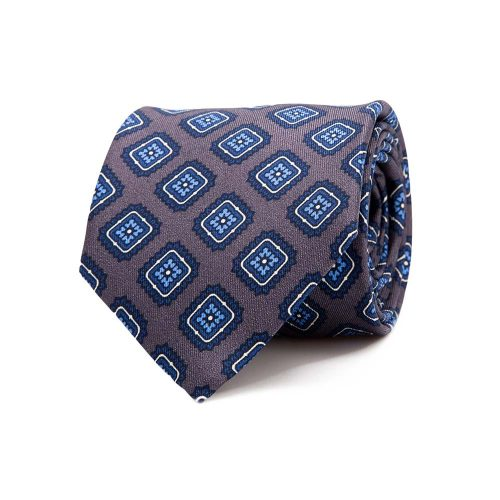 Handmade Italian Grey and Blue Tile Medallion Motif Printed Twill Silk Tie
