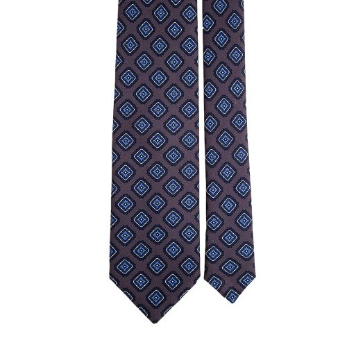 Handmade Grey and Blue Tile Medallion Motif Printed Twill Silk Tie