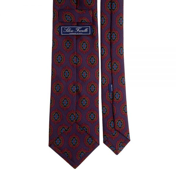 Italian Purple Medallion Motif Printed Twill Silk Tie