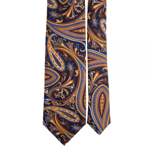 Handmade Blue and Multicolour Paisley Motif Printed Twill Silk Tie