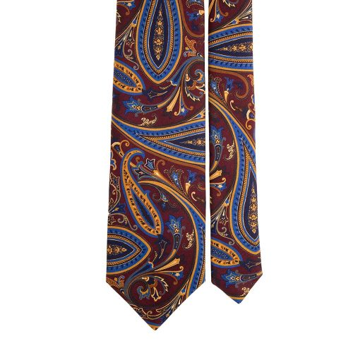 Handmade Burgundy and Multicolour Paisley Motif Printed Twill Silk Tie