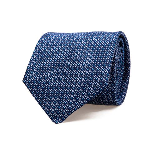 Handmade Italian Navy Blue Micro Geometric Screen Printed Silk Tie