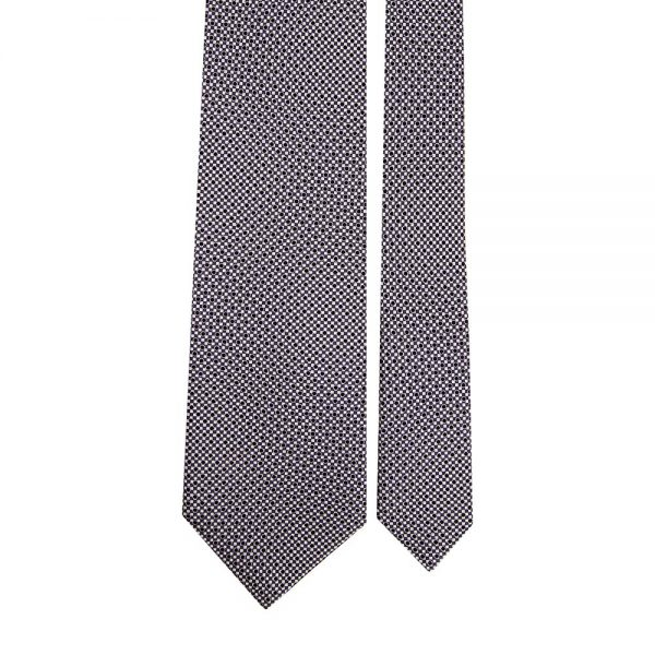 Handmade Grey Micro Geometric Motif Screen Printed Silk Tie