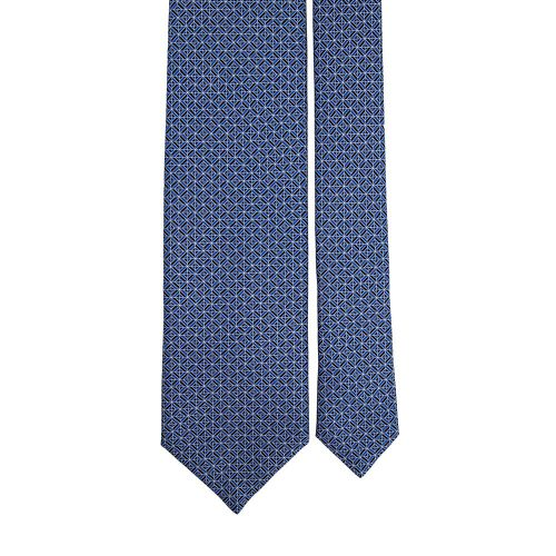 Handmade Blue Ornamental Geometric Motif Screen Printed Silk Tie