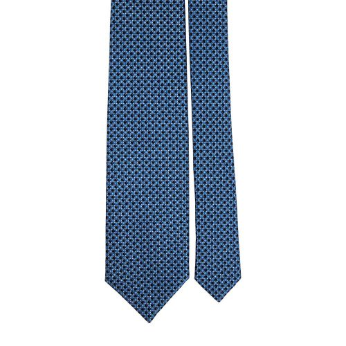 Handmade Blue and Black Micro Geometric Motif Screen Printed Silk Tie