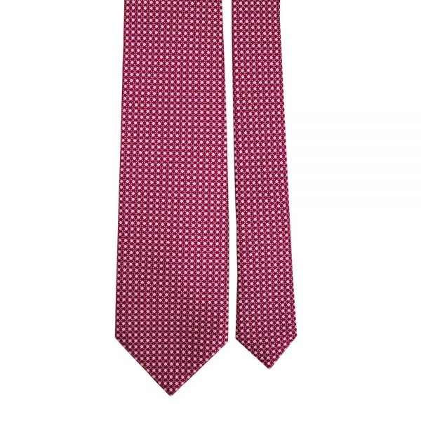 Handmade Burgundy and Grey Micro Motif Screen Printed Silk Tie