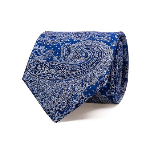 Handmade Italian Blue Paisley and Micro Motif Screen Printed Silk Tie