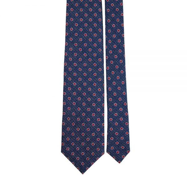 Handmade Navy Blue and Red Dot Motif Screen Printed Silk Tie