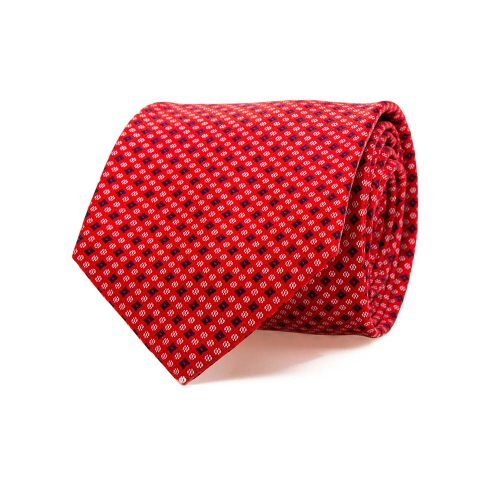 Handmade Italian Red Micro Geometric Motif Screen Printed Silk Tie