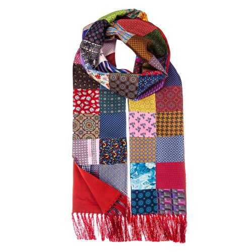 Handmade Italian Multicolour Patchwork Scarf with Red Wool Backing