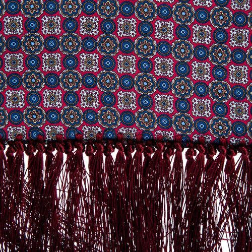 Handmade Bordeaux Floral Medallion Silk Scarf with Hand Tied Fringes