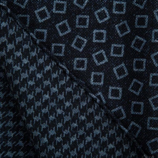 Handmade Blue Houndstooth and Geometric Motif Hand Rolled Silk Wool Scarf