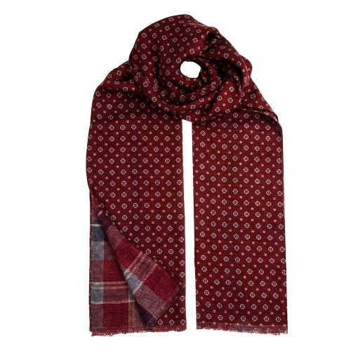 Handmade Italian Burgundy Classic Motif and Madras Hand Rolled Silk Shappe Scarf
