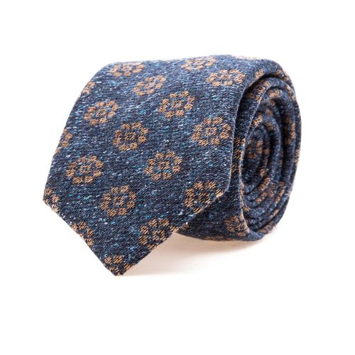 Handmade Italian Blue and Brown Medallion Motif Silk and Wool Woven Tie