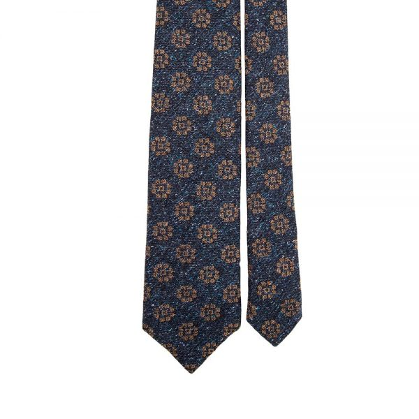 Handmade Blue and Brown Medallion Motif Silk and Wool Woven Tie