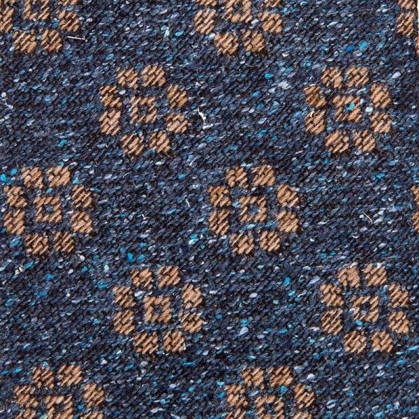 Blue and Brown Medallion Motif Silk and Wool Woven Tie