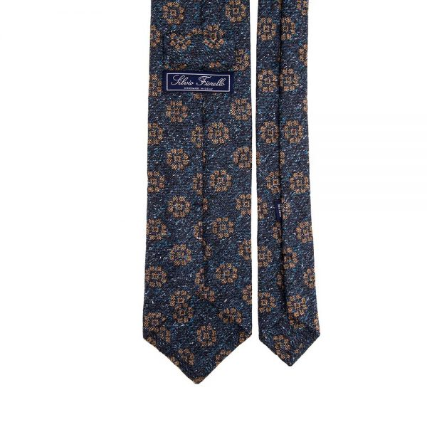 Italian Blue and Brown Medallion Motif Silk and Wool Woven Tie