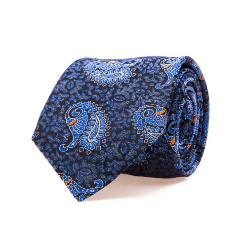 Handmade Italian Blue Paisley and Ornamental Motif Woven Silk Tie