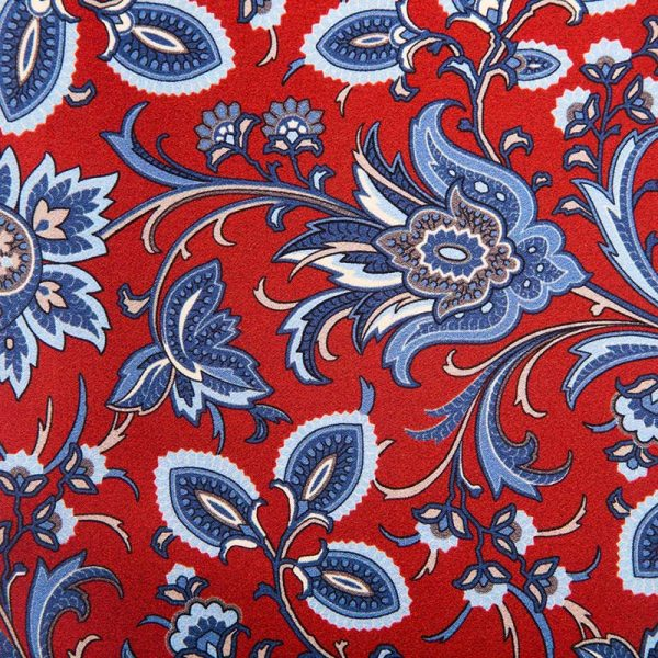 Handmade Red and Blue Floral Motif Satin Silk Ascot