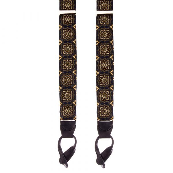 Handmade Navy Floral Medallion Motif Silk and Leather Braces