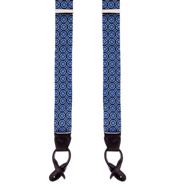 Handmade Blue Ornamental Motif Silk and Leather Braces