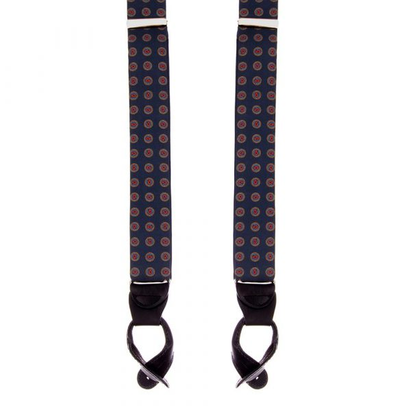 Handmade Navy Micro Paisley Motif Silk and Leather Braces