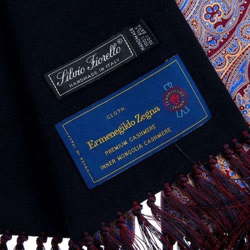Handmade Burgundy and Blue Paisley Motif Scarf with Hand Printed Silk and Blue Zegna Cashmere