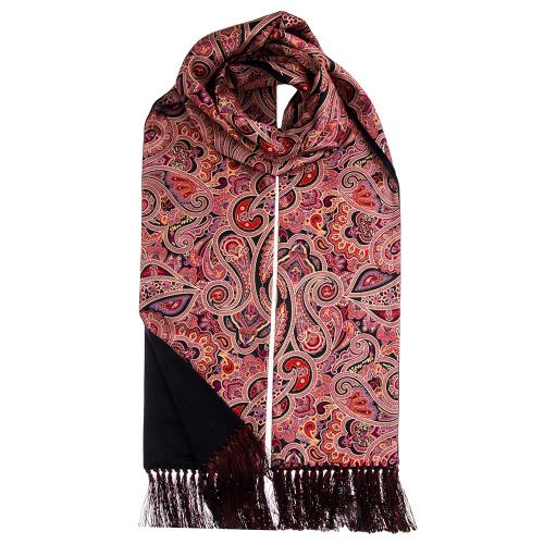 Handmade Italian Red and Black Paisley Motif Scarf with Hand Printed Silk and Blu Zegna Cashmere