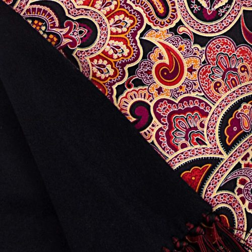 Handmade Red and Black Paisley Motif Scarf with Hand Printed Silk and Blu Zegna Cashmere