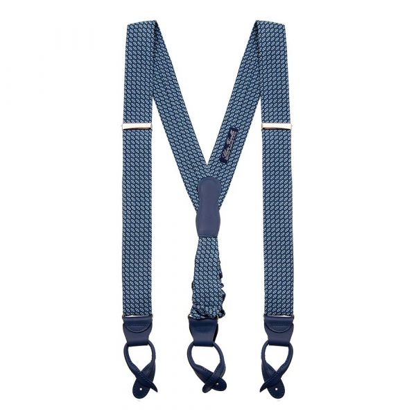 Handmade Italian Blue Classic Motif Silk and Leather Braces