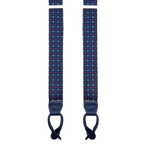 Handmade Blue Micro Motif Silk and Leather Braces