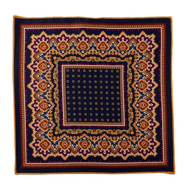 Handmade Italian Blue and Ochre Ornamental and Micro Motif Silk Pocket Square