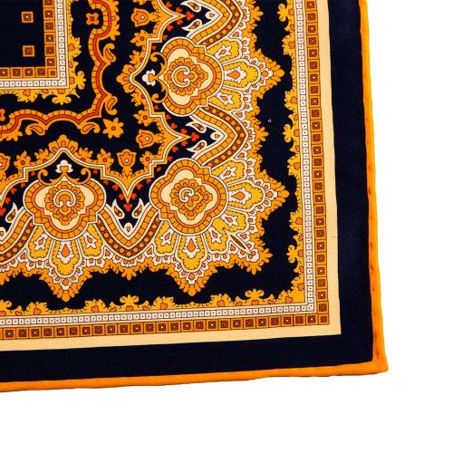 Handmade Black and Orange Ornamental and Micro Motif Silk Pocket Square