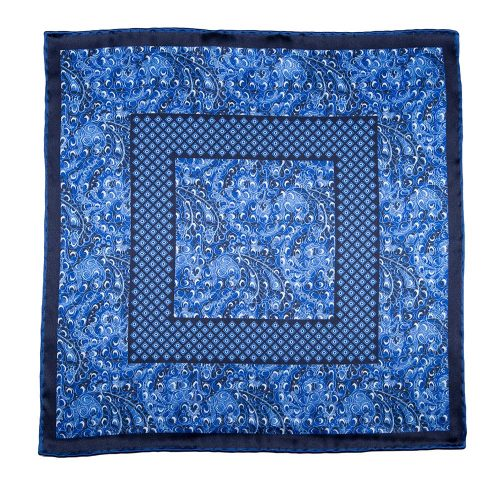 Handmade Italian Blue Abstract Motif Silk Pocket Square