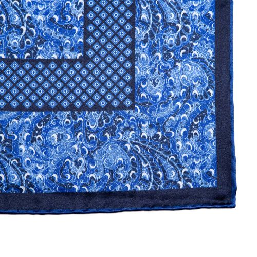 Handmade Blue Abstract Motif Silk Pocket Square
