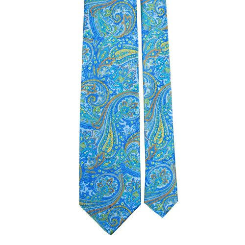 Handmade Light Blue Paisley Motif Screen Printed Silver Thread Silk Tie