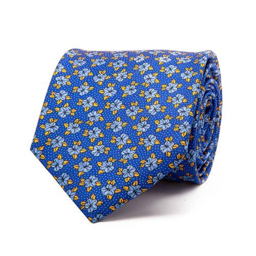 Handmade Italian Blue Floral Motif and Pin Dots Silver Thread Silk Tie