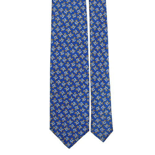 Handmade Blue Floral Motif and Pin Dots Silver Thread Silk Tie
