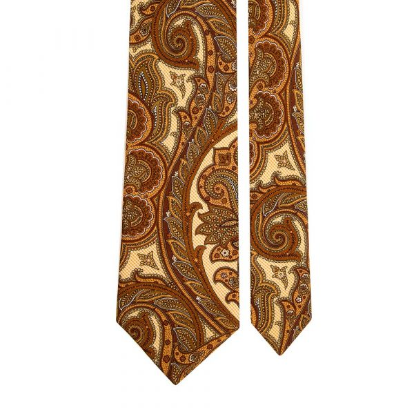 Handmade Yellow Large Paisley Silk Tie