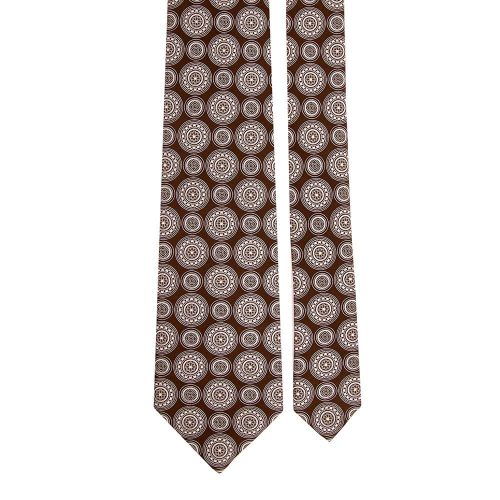 Handmade Brown Medallion Motif Silver Thread Silk Tie