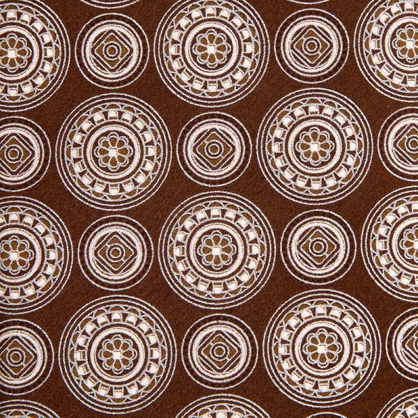 Brown Medallion Motif Silver Thread Silk Tie
