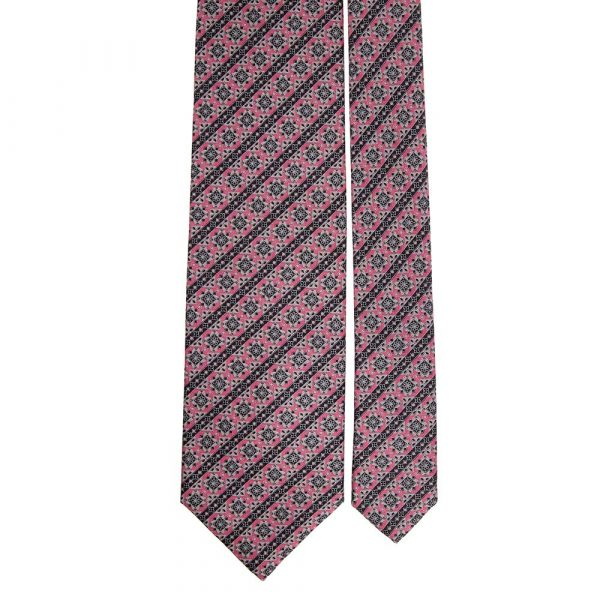 Handmade Pink and Grey Classic Motif with Stripes Silver Thread Silk Tie